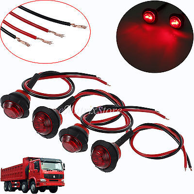 4x 3 LED Red Round Rear Side Marker Indicator Light 12V For Truck Trailer Lorry