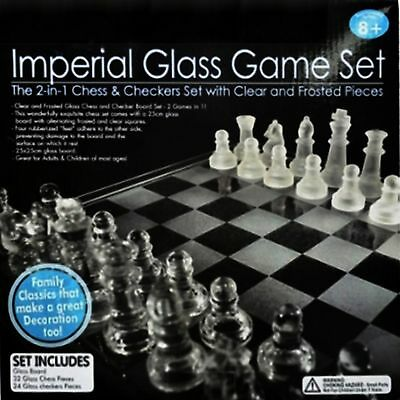 Chess Checkers Game Set Board Boards Glass Imperial New