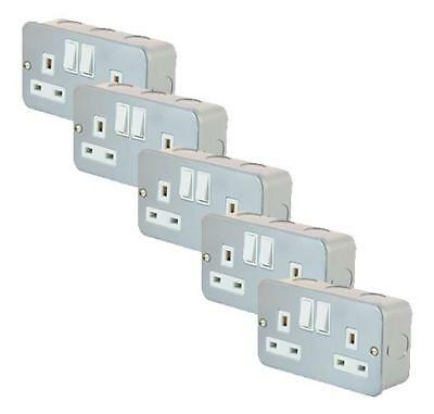 Pack of 5 Metal Clad 2 Gang Double Socket 13A Electrical Socket With Back Box
