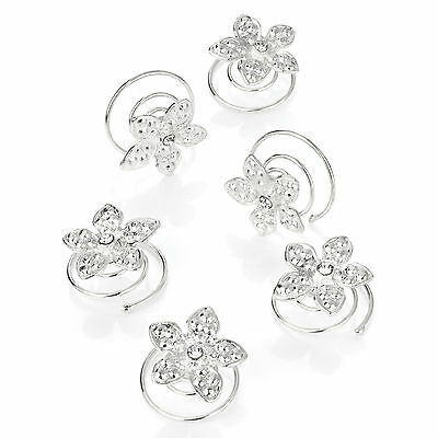 Bridal Wedding Silver Flower Clear Crystal Hair Coils Spirals Twists Pins