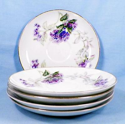 5 Sone China Lilac Saucers Porcelain Gold Trim Purple Lilacs Japan Vintage