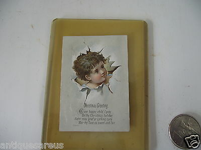 """Minature Victorian  Christmas Greeting Card """" Ever Happy Child  Embossed Child"""