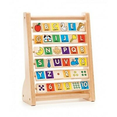 NEW Melissa and Doug ABC 123 Abacus - Kids Wooden Picture Alphabet Learning Toy