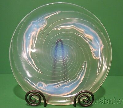 "Vintage Sabino Opalescent Art Glass Plate ""Birth of a Star"" Nude Women"