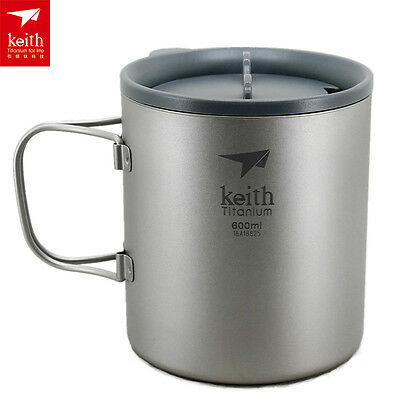 Keith Double-wall Titanium Cup Water Cup Camping cup Picnic Mug 600ml 138g KS816