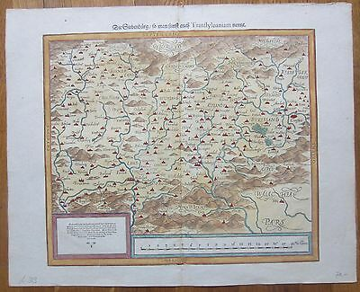 MUNSTER: Cosmographia Large Colored Map Transylvania Romania 16th. Century