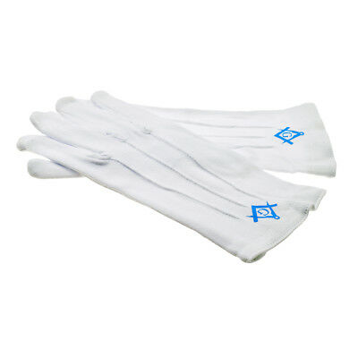 Plain White Cotton Gloves with Blue Masonic Compass & Square with G XLFG003