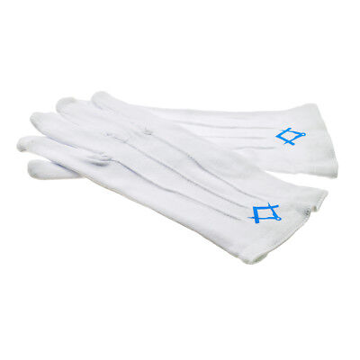 Plain White Cotton Gloves with Blue Masonic Compass & Square Design