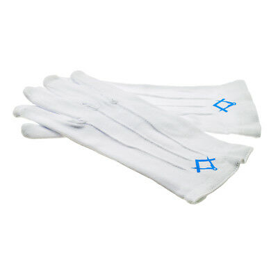 White Cotton Gloves with Light Blue Masonic Compass & Square No G Design XLFG002