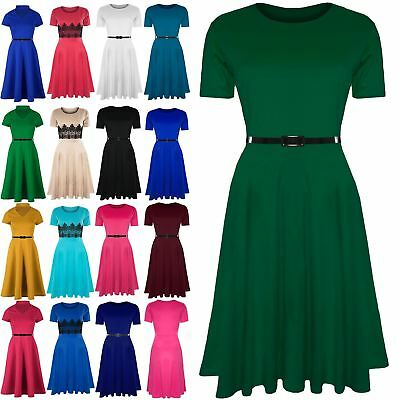 Womens Ladies Plain Belted Cap Sleeve Flared Swing Midi Skater Dress Plus  Size f800ef958