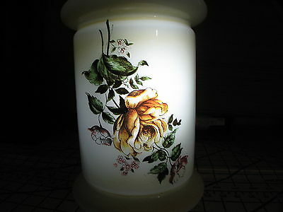 OIL LAMP SHADE w/ Roses ON FRONT 10.25 high  WHITE CRYSTAL GLASS PIE CRUST TOP