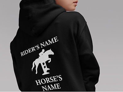 PERSONALISED HORSE RIDING HOODIE traditional GYPSY COB PIEBALD VANNER HORSE