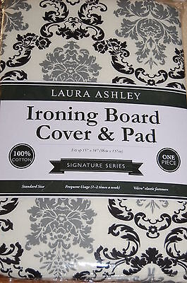 Laura Ashley Ironing Board Cover And Pad Signature Black Gray Whiite Delancy Nip