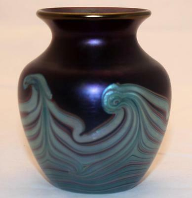 Okra Glass Vase with Feather Pattern in Irridescent Blue. Marked to Base.