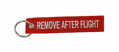 Remove after flight red keychain key ring tag luggage before aviation