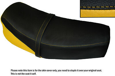 Yellow & Black Custom Fits Jawa Cz 125 175 1976 Dual Leather Seat Cover Only