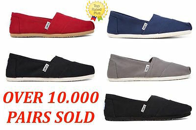 AUTHENTIC Toms CLASSIC CANVAS Slip-On Women's Shoes Red,Black,Ash, Navy 5.5-9.5