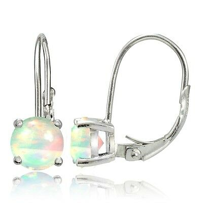 Sterling Silver 1.1ct Ethiopian Opal 6mm Round Leverback Earrings