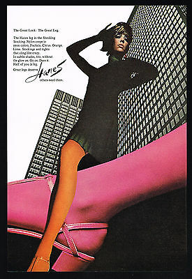 1967 Hanes Colored Nylons Women's Stockings Hosiery Photo Print Ad