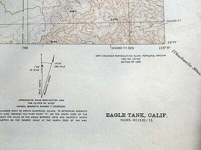 Topo Map - Eagle Tank California, 1944 (near Joshua Tree) USGS Topgraphic