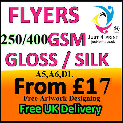 Flyers / Leaflets Printed On 250gsm Gloss & 400 GSM Silk A5, A6 ,DL