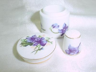 Beautiful RARE 1958 Bone China Thimble &  Holder  Violets Theme   #1554