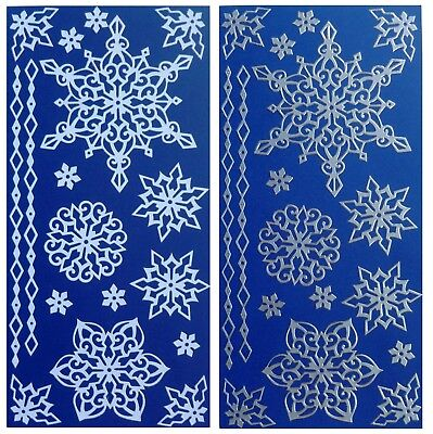 LARGE SNOWFLAKES Peel Off Stickers Borders Christmas Winter White Silver Frozen