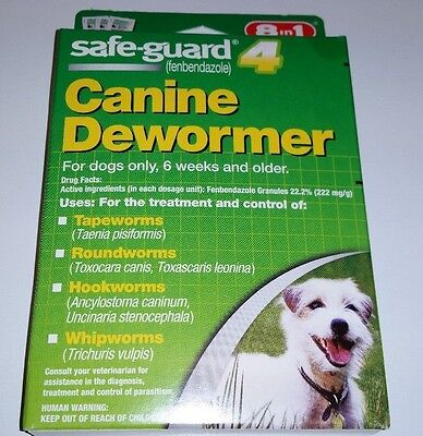 Safe-Guard Canine Dewormer Dogs Up to 10 lbs Tape Round Hook Whip Worms 3 pouche