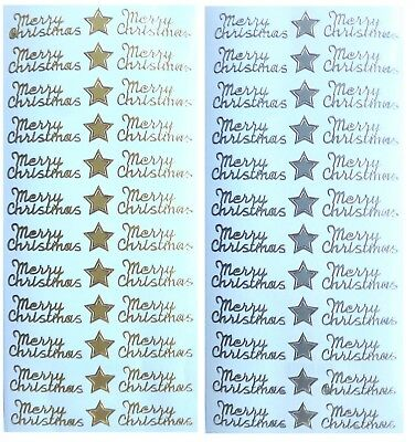 MERRY CHRISTMAS Peel Off Stickers 24 x Merry Christmas 12 x Stars Gold or Silver