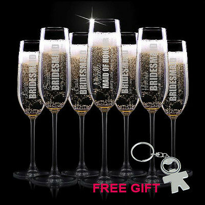 BOLD Personalised Favours Bridesmaid Champagne Flutes / Glasses - Bridal Party