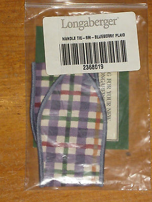 Longaberger Good Ole' Blueberry Plaid Small Basket Fabric Handle Tie Nib New Us