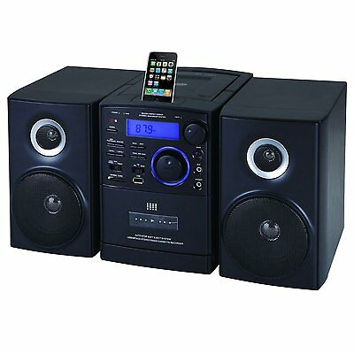 SUPERSONIC AUDIO STEREO SYSTEM MP3 CD CASSETTE PLAYER iPod DOCK USB/SD/AUX INPUT