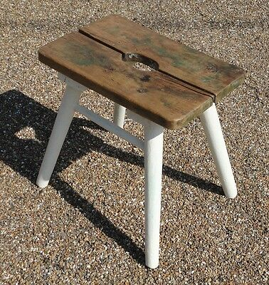 Antique Victorian Country Rustic French Elm Milking Stool Shabby Chic Painted