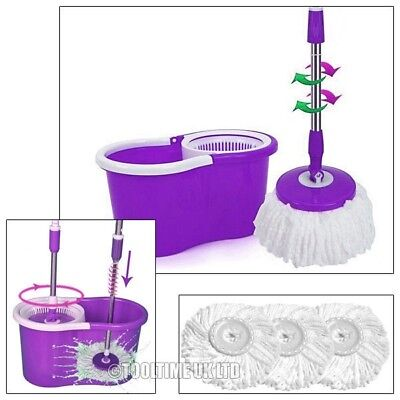 360° Spinning Rotating Spin Floor Mop & Bucket Set + 3 Microfibre Cleaning Heads
