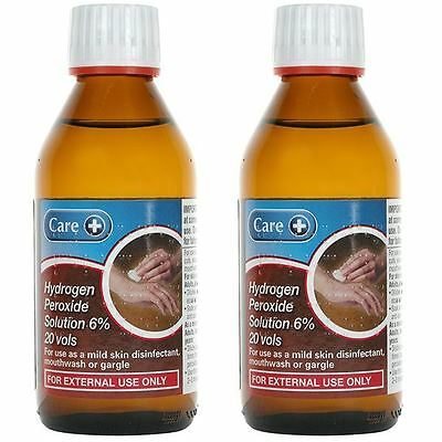 Care 200ml Hydrogen Peroxide Solution 6% - 2 Pack