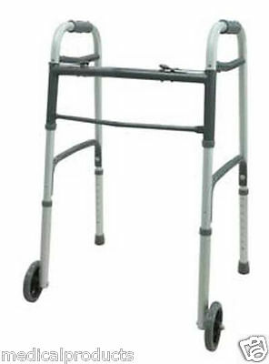 "Deluxe Two Button Adult Folding Walker with 5"" Wheels Heavy Duty Professional"