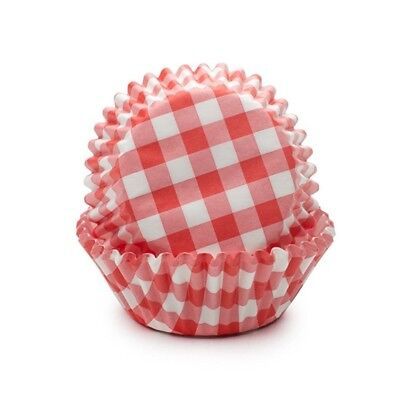 Fox Run Red Gingham Paper Mini Party Bake Cups 50 Pack, Cupcakes Muffin Liners