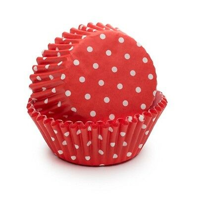 Fox Run Red Polka Dot Paper Mini Party Bake Cups 50 Pack, Cupcakes Muffin Liners