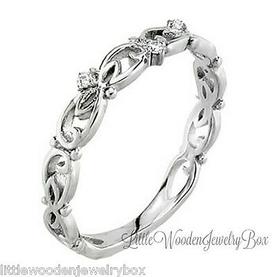Silver Platinum 14k White Gold Antique Ring Wedding Anniversary Band Women's