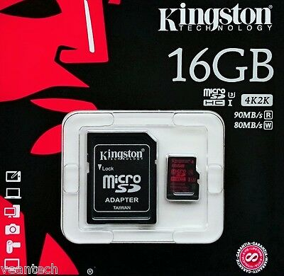 Kingston 16GB microSD SDHC UHS-1 U3 Speicherkarte 4K Ultra HD Video SDCA3/16GB