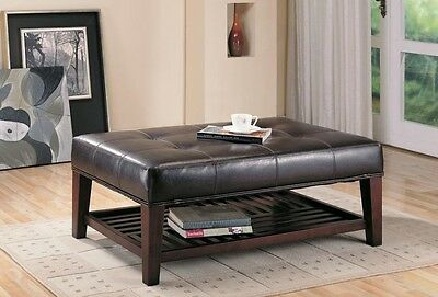 Contemporary Faux Leather Tufted Ottoman with Storage Shelf by Coaster 500872