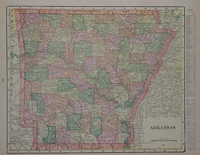 1903 Arkansas Antique Color Atlas Map** Indexed with Populations..117 years-old!