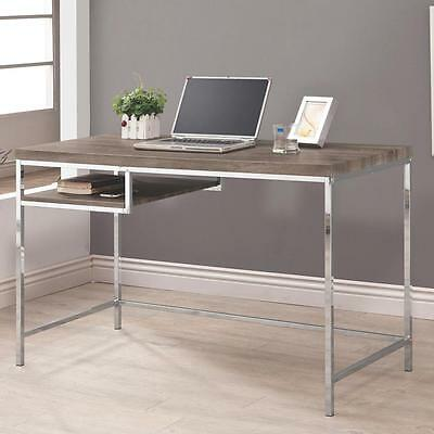 Weathered Grey Counter Height Desk with Shelf and Chrome Base by Coaster 801271