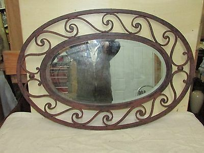 Large Oval Antique Wrought Iron Mirror Probably  French