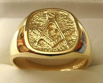HEAVY GENUINE 9K 9ct SOLID GOLD LARGE MASONIC RING Size T/10 to Z/13