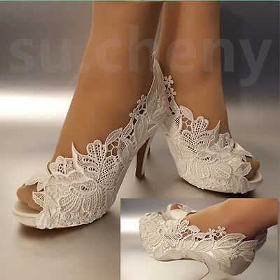 "3"" 4"" heel white ivory silk lace open toe crystal Wedding shoes Bride size 5-11"