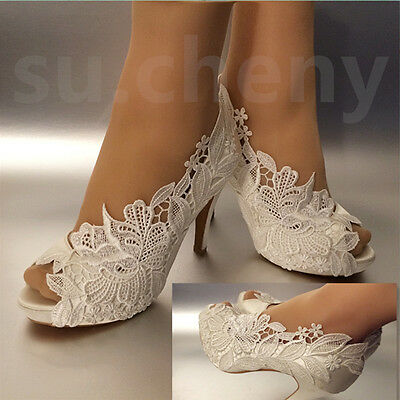 "3/ 4"" heel white ivory silk lace open toe crystal Wedding shoes Bride size 5-9.5"