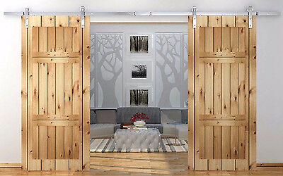 8/10/12ft stainless steel double sliding barn wood closet door hanging track kit