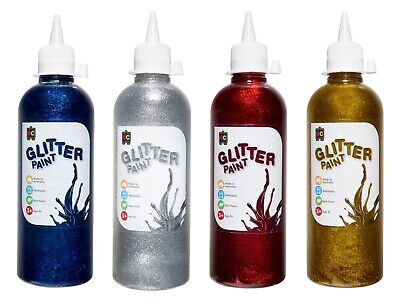 EC Glitter Craft Paint 500ml Combo Pack Gold Silver Blue Red