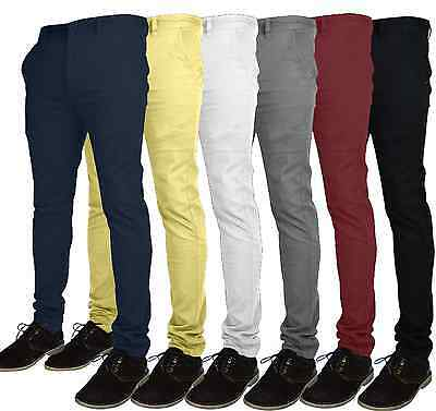 Mens Designer Chino Trousers Stretch Skinny Slim Fit Jeans Pant Cotton All size